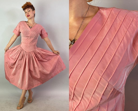 1950s Pretty in Pink Party Dress | Vintage 50s Rose Petal Pink Taffeta Cocktail Frock with Chevron Pintuck Stripes & Full Skirt | Medium