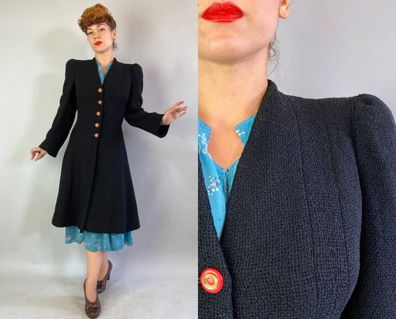 1930s Proud Princess Coat | Vintage 30s Black Text