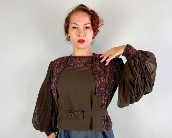 1910s Beaded Beauty Blouse | Vintage Teens Brown Silk Chiffon Belted Top w/Blue Yellow Red Beads and Pleated Poet Sleeves | Medium Large