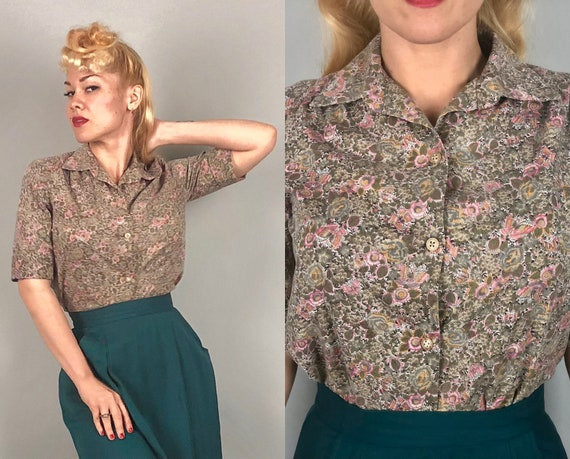 1940s 1950s Floral Print Blouse | Vintage 40s 50s Candy Pink, Mushroom Gray, Dark Sage Green, and Turmeric Orange Cotton Shirt | Medium