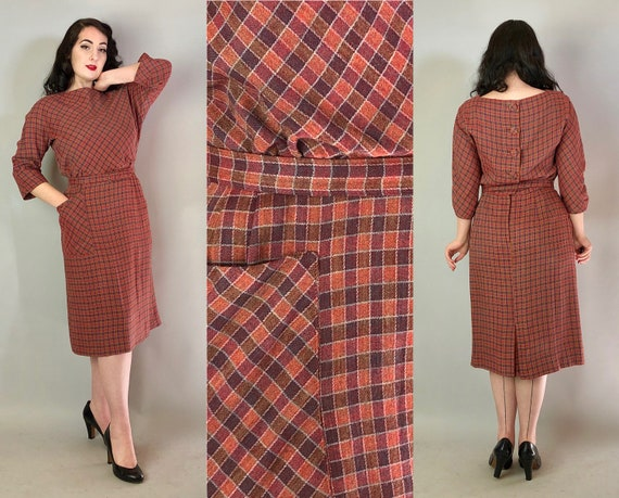 1940s Plaid Pencil Dress | Vintage 40s Rust Brown and Orange Wool Day Dress with Self Buttons, Self-Belt, and Oversized Pocket! | Medium