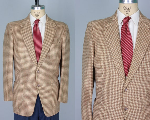 1950s Men's Houndstooth Sport Coat | Vintage 50s Neutral Tone Beige and Brown Wool Tweed Jacket Blazer with Patch Pockets | Size 40 Medium