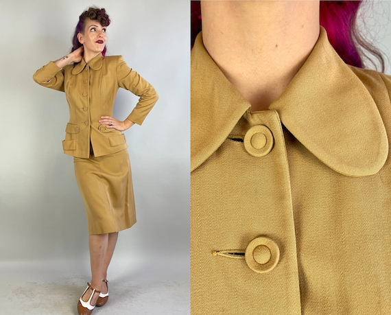 1940s Marvelous Mustard Suit | Vintage 40s Deep Yellow Wool Gabardine Two Piece Jacket & Skirt Set with Button Tab Accents | Extra Small XS