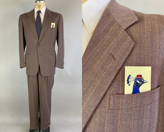 1940s Tantalizing Tommy Suit | Vintage 40s Taupe Brown Wool with Electric Blue and White Pinstripes Blazer and Trousers | Size 40 Medium