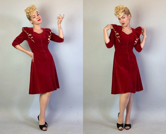 Vintage 1930s Dress | 30s Cherry Red Velvet Valentine Figure Skating Dress with Sweetheart Neckline, Lace Trim, and Self Buttons | Small