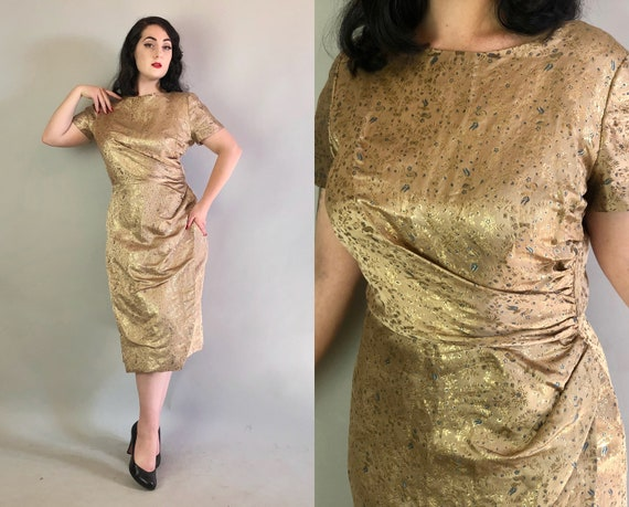 Vintage 1950s Dress | 50s Glamorous Tan Beige with Gold and Blue Bird and Floral Silk Brocade Bombshell Evening Cocktail Party Dress | Large