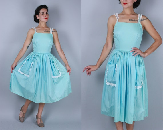 Vintage 1950s Dress | 50s Aqua Blue Cotton Day Sundress with White Eyelet Lace Trim & Two Pockets | Extra Small XS