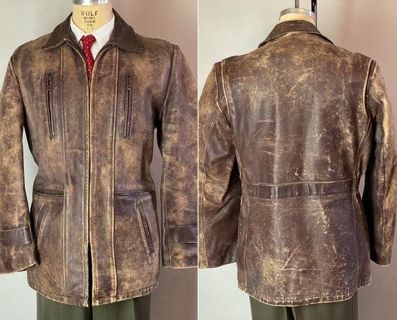 "1940s Belted Back Leather Jacket | Vintage 40s Espresso Brown 'Talon' Diamond Zipper Coat by ""Hercules"" w/ Six Front Pockets! | Medium Large"