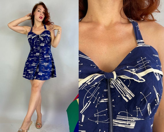 1930s Fran's Frolic Romper   Vintage 30s Blue & White Atomic Print Cotton Playsuit Swimsuit w/Cloth-Covered Zip Front   Large Extra Large XL