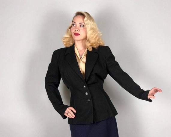 "Vintage 1930s Blazer | 30s Jet Black Wool Single Breast Jacket with Art Deco Arrow Inverted Dart Shaping by ""Printzess"" | Medium Large"
