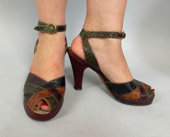 1940s Carmen Miranda Cha Cha Platforms | Vintage 40s Orange Green Red Black Snakeskin Peeptoe High Heel Ankle Strap Shoes | Size US 7.5 8