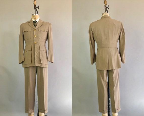 1950s Mens Belted Back Uniform | Vintage Early 50s Military Korean War Beige Khaki Twill Navy USN Officer Suit Dated 1952! | Size 40 Medium