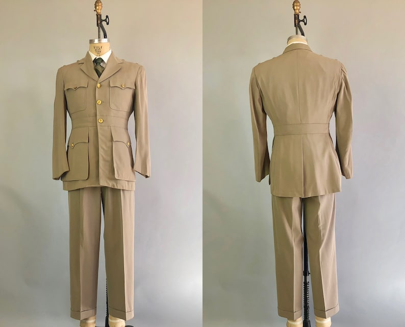 6f1c77dfc296 1950s Mens Belted Back Uniform Vintage Early 50s Military