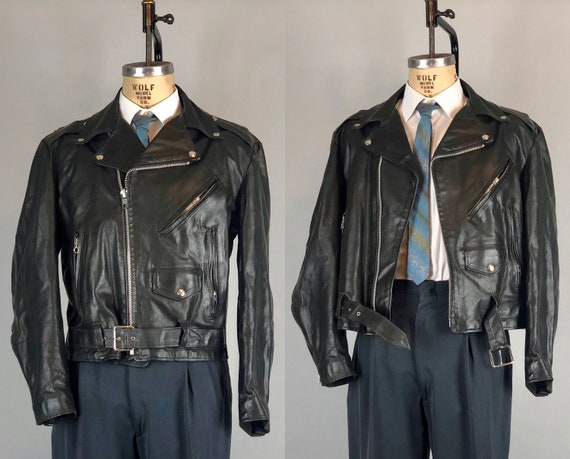 Vintage 1950s Mens Leather Jacket | 50s Black Motorcycle Biker Jacket with Belt and Snaps and Steel Zips with Loop Pulls | Size 42 Large