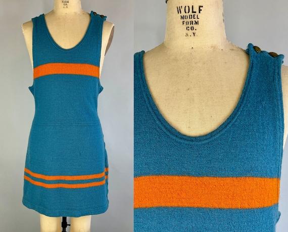 1930s Warner Bros Bathing Suit | Vintage 30s Cerulean Blue Wool Knit Swimsuit Swimwear with Tiger Orange Stripes | Large/Extra Large XL