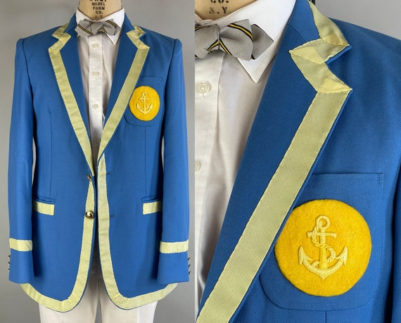 1980s Anchors Away Blazer | Vintage 80s Olympic Blue Sport Coat with Brass Buttons Yellow Ribbon Trim & Golden Anchor Patch |Size 38 Medium