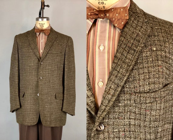 1950s Mens Windowpane Blazer | Vintage 50s Dark Hickory Brown & Smoke Gray Plaid Wool Tweed Sport Coat Jacket by 'Yosowitz' | Size 40 Medium