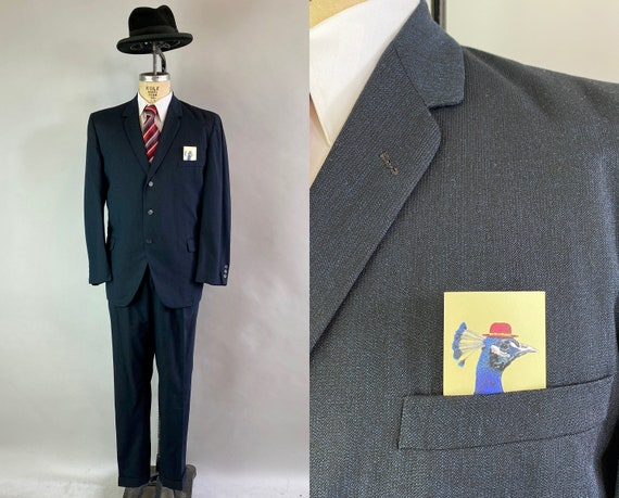 1950s Debonaire Don Suit | Vintage 50s Black with Electric Blue Flecks Wool Single Breasted Blazer and Trousers | Size 44 Extra Large XL