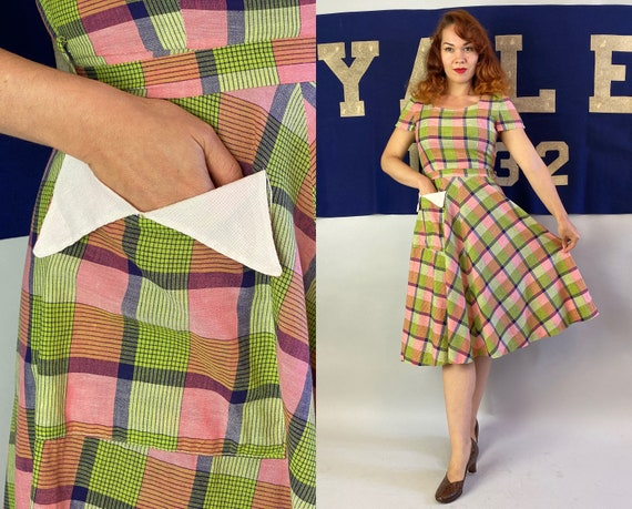 1940s Sassy Sally Springtime Frock | Vintage 40s Chartreuse Green Pink and Blue Plaid Cotton Fit & Flare Dress w/White Pique Pocket | Small