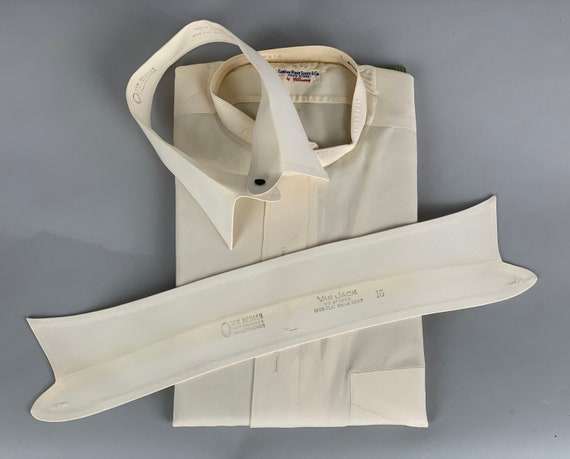 1930s Mens Deadstock Collarless Shirt | Vintage 30s Button Up White Cotton Oxford w/Two Detachable Soft False Collars NWT NOS | Size 15.5-33