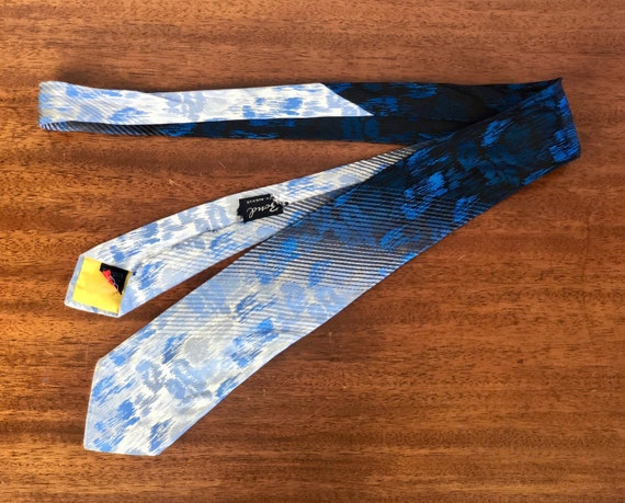 """Vintage 1950s Mens Necktie   50s Rhodia Acetate Electric Blue Rain Over Black to Silver Fade Mid Century Tie by """"Bond"""" Woven in France"""