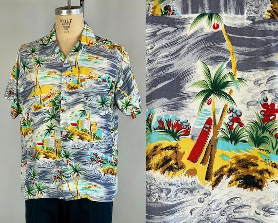 1950s Paradise Island Shirt | Vintage 50s Rayon Hawaiian Top-Loop Tiki Shirt with Novelty Sailor Girls, Surfboards, Palms, Coconuts | Large
