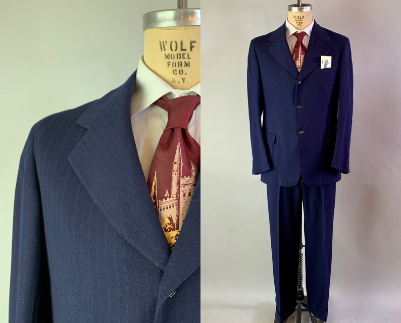 1930s Tantalizing Tommy Two Piece Suit  Vintage 30s Midnight image 0