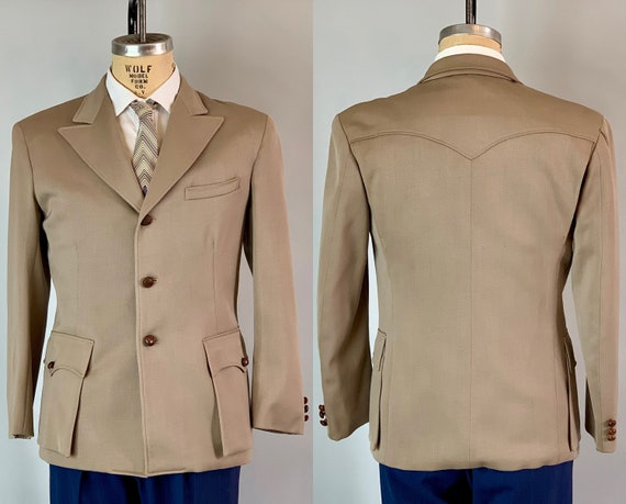 1940s Western Blazer | Vintage 40s Beige Grey Gray Wool Single Breasted Jacket w/ Brown Leather Buttons & Bellows Pockets! | Size 40 Medium