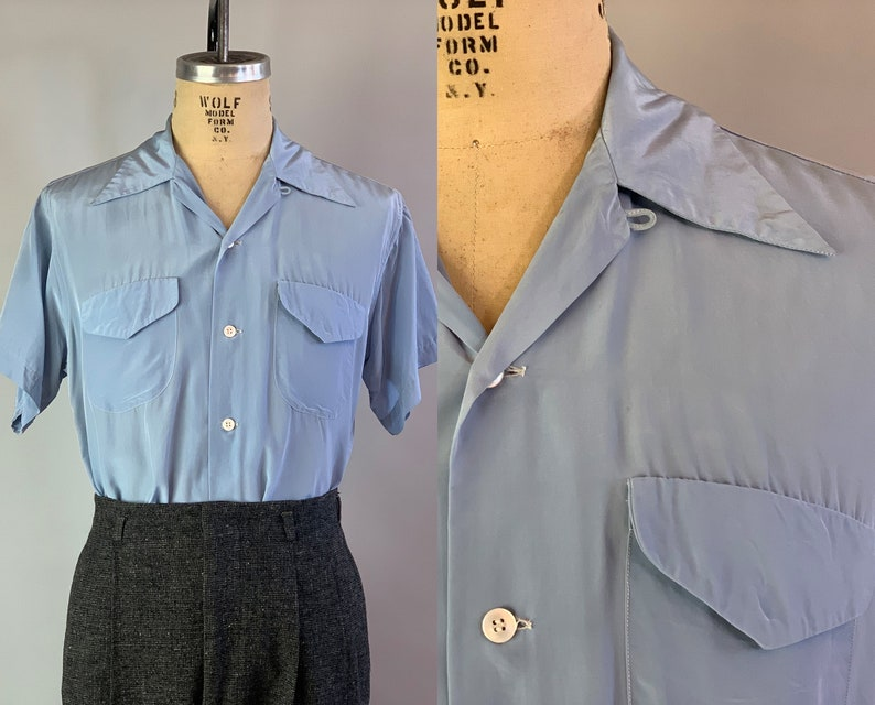 1940s Nifty Nick Shirt  Vintage 40s Sky Blue Acetate and image 0