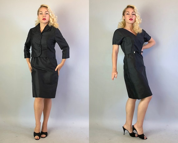 Vintage 1950s Dress Set | 50s LBD Black Rayon Taffeta Cocktail Evening Party Dress w/ Matching Bolero Jacket by 'Hattie Carnegie' | Small