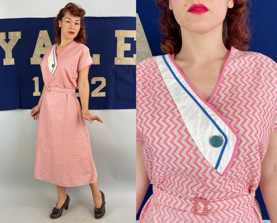 1930s Zelda's Zig Zag Frock | Vintage 30s Pink White Yellow Blue Cotton Slip On Day Dress Attached Belt Deadstock NRA Label | Extra Large XL
