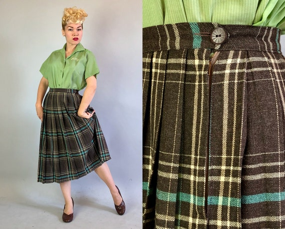 "1940s Knife Pleated Plaid Skirt | Vintage 40s Wool Black Coffee Brown Cream White & Turquoise Tartan Tea Length Skirt by ""Peerless"" 