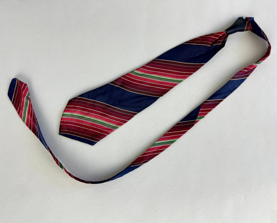 """1930s Patented """"Self Tying"""" Necktie   Vintage 30s Variegated Stripes of Midnight Blue Reds Pinks and Green Silk Tie with 1935 Patent Number!"""