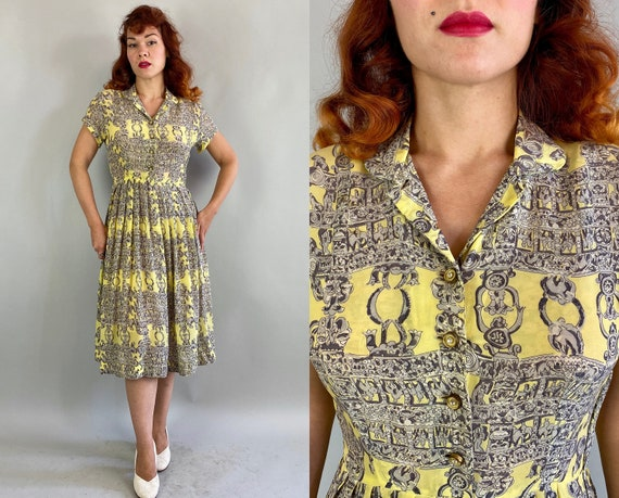 1940s Charlotte's Chandelier Frock | Vintage 40s Yellow and Grey Rayon Chiffon Dress with Neo-classical Style Novelty Border Print | Small