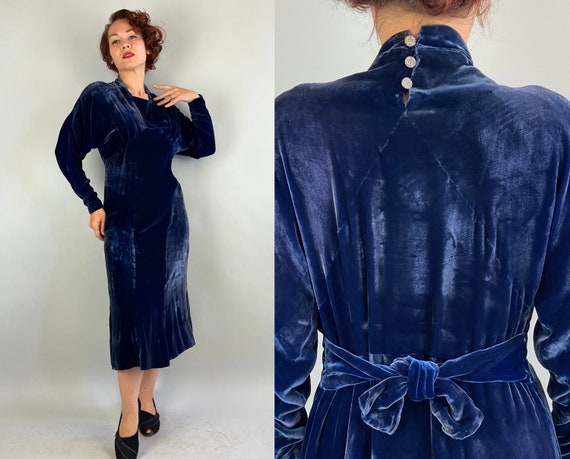 1930s Sensational Sapphire Gown | Vintage 30s Blue Silk Velvet Bias Cut Deco Evening Cocktail Dress with Marcasite Buttons | Medium Large XL