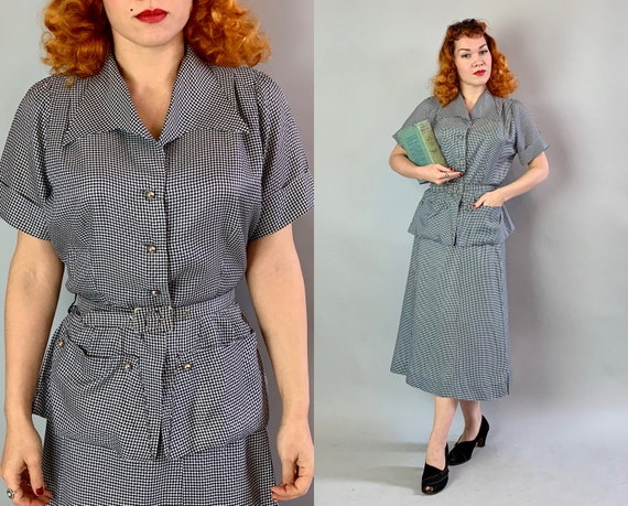 "1940s Darling Dorothy Day Dress Set | Vintage 1940s Navy Blue & White Gingham ""Mode O'Day"" Blouse and Skirt Set w/ Front Pockets! 