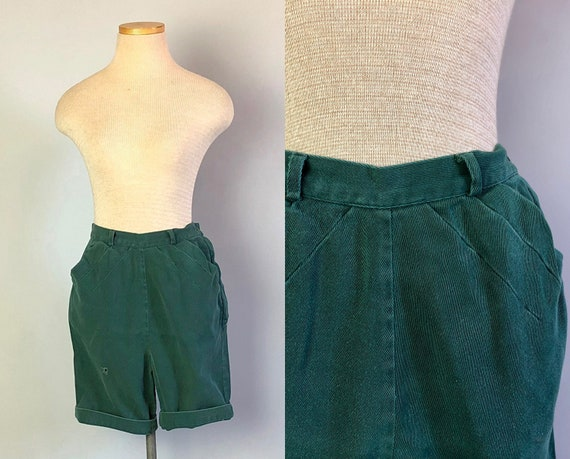 Vintage 1940s Shorts | Jan's Adventurous 40s Sage Green Girl Scout Uniform Cotton Twill Shorts w/ Sunburst Darts & Pockets! | Extra Small XS