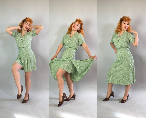 1940s Housewife to Pinup Playsuit Set | Vintage 40s Two Piece Sage Green Rayon & White Floral Print Romper w/Matching Coverup Skirt | Large