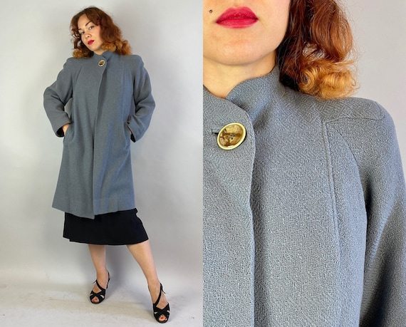 1940s Gorgeous Gal Swing Coat | Vintage 40s Slate Grey Nubby Wool Collar-less Jacket w/Unique Seaming & Large Marbled Burton | Small Medium