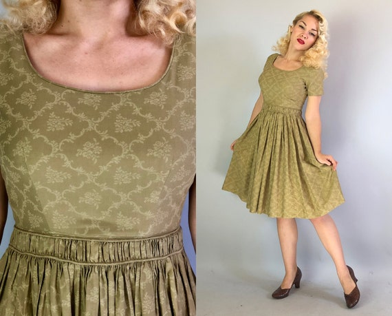 Vintage 1950s Dress | 50s Olive Green Cotton Twill Short Sleeve Day Dress with Subtle Floral Rococo Motif Print and Full Skirt | Small