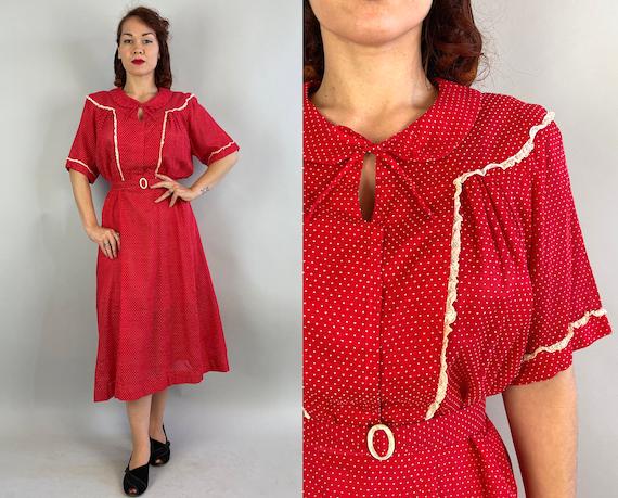 1940s Vivacious Verna Shirtwaist Day Dress | Vintage 40s Red Cotton Swiss Dot Summer Frock with Peter Pan Collar | XL Extra Large Volup