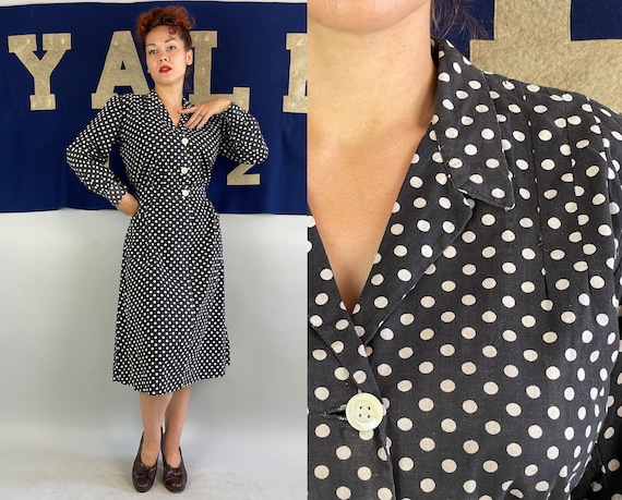 1930s Frenchie's Dashing Dots Dress | Vintage 30s Black and White Polka Dot Cotton Frock with Attached Belt & Shell Buttons | Extra Large XL