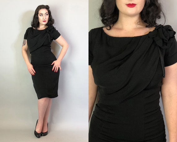 1950s Faux Shawl Dress | Vintage 50s Rich Black Rayon Blend Cocktail Dress with Sash Style Shawl & Black Flower Bow w/Satin Strands | Medium