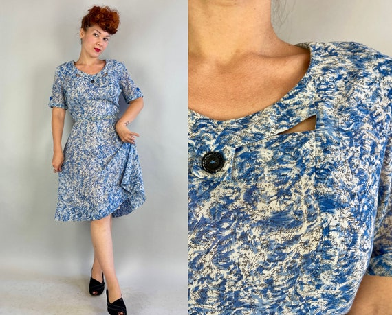 1940s Impressionistic Water Ways Frock | Vintage 40s Blue and White Cotton Voile Day Dress with Cutouts and Matching Belt | XL Extra Large