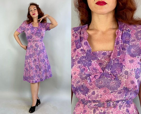 1940s Bursting Blooms Dress | Vintage 40s Pink and Purple Flower Print Semi Sheer Cotton Voile Day Frock with Belt | Large Extra Large XL