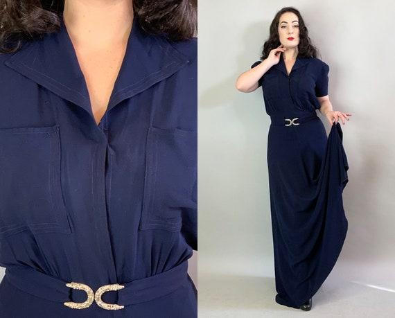 1940s Midnight Goddess Gown | Vintage 40s Navy Blue Rayon Floor Length Evening Dress w/Pockets & Matching Rhinestone Horseshoe Belt | Large