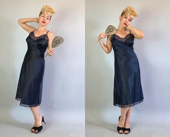 Vintage 1950s Dress Slip | 50s Indigo Blue Nylon Dress Slip with Lace Trim, Figure Flattering Gathers at Bodice & Adjustable Straps | Medium