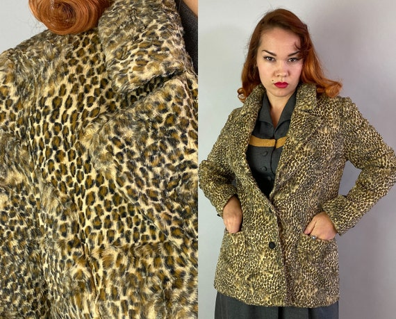 Early 1950s Bad Girl Blazer | Vintage 50s Silky Faux Leopard Fur Jacket Short Coat w/Peak Lapels Patch Pockets & Faux Cord Buttons | Medium