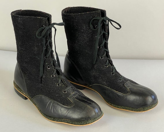 1940s Winter Wonder Boots | Vintage 40s Black Lace Up Shoes with Felted Wool Upper and Leather Base | Size 10