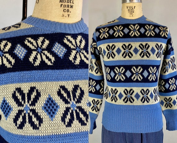 1940s Ski Slope Chic Sweater | Vintage 40s Blue an